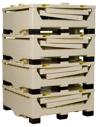 Collapsible Liquid Bulk Containers stacked nested